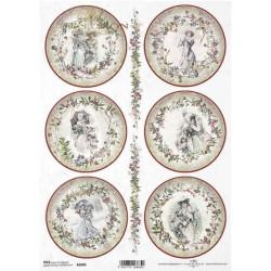 Papír rýžový A4 Viktoriánské Vánoce, kulaté obrázky