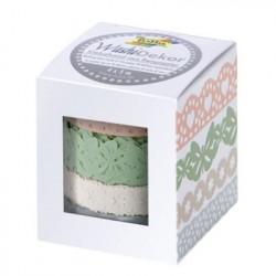 Washi Tape - pastelové barvy, krajka 4ks