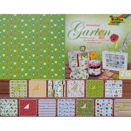 Blok vzorovaných papírů 26 listů - Garten