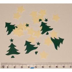 Směs motivů z papíru - Vánoční stromy a hvězdy