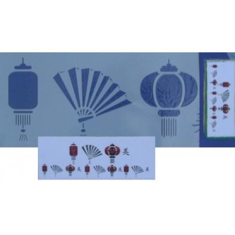 Šablona velká - Lampy a vějíře 15x42cm