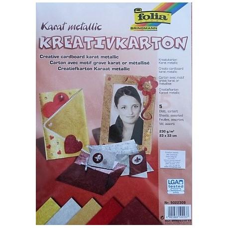 Karat metallic - sada 5 kartonů s ražbou