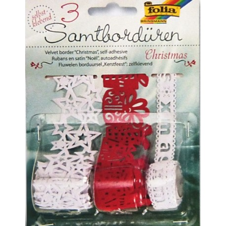 Sametové bordury Christmas - samolepící bíločervené