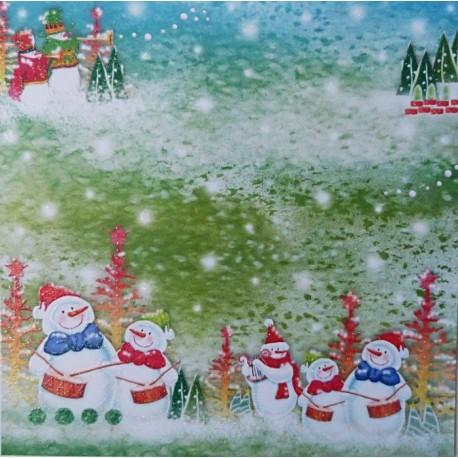 Sněhuláčci 30,5x30,5 designový papír