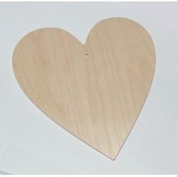 Srdce dřevěné k zavěšení - široké 15x15