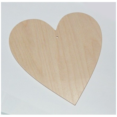Srdce dřevěné k zavěšení - široké