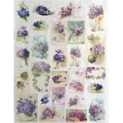 Papír rýžový mini 33x24 Kytičky fialek