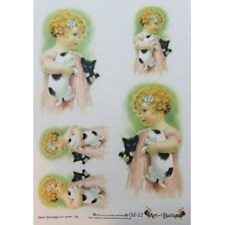 Papír A4 Dívka s koťaty
