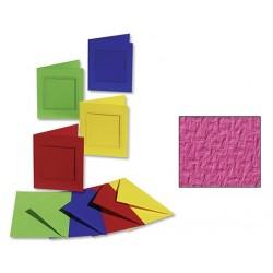 Sada 3 přání - výsek obdélník + obálky - růžová