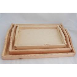 Sada tří podnosů dřevěných