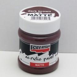 Akrylová barva Pentart 230ml - tm.hnědá, matná