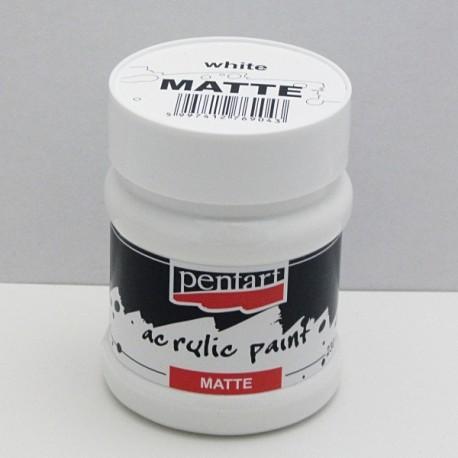 Akrylová barva Pentart 230ml - bílá, matná