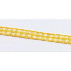 Stužka 7mm káro - žlutá