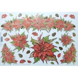 Papír rýžový 48x33 Vánoční hvězda, zlacený
