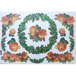 Papír rýžový 48x33 Růže a cesmína, zlacený
