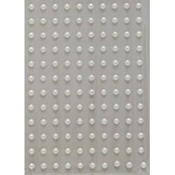 Kamínky perličky 3mm, samolepící krémové