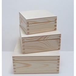 Dřevěné krabice 3v1 - čtvercový tvar