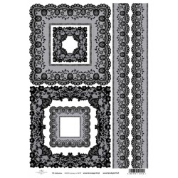 Papír rýžový A4 Krajkové rámečky a bordury