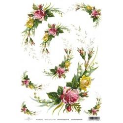 Papír rýžový A4 Růže s konvalinkami