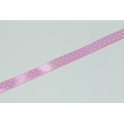 Saténová stuha s puntíky, 12mm - světlá růžová