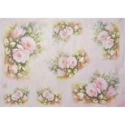 Papír rýžový 35x50 Růže růžové na světle růžovém (7717)